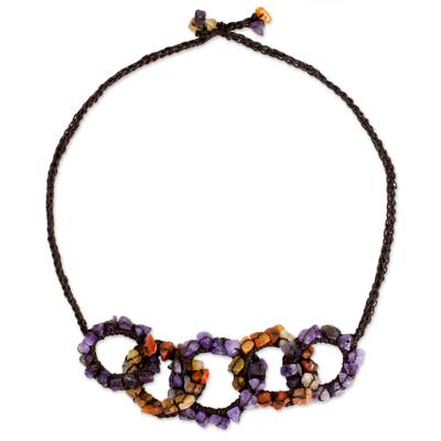 Amethyst and Carnelian Gemstone Necklace on Brown Cords