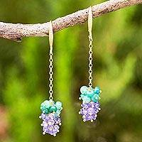Gold plated tanzanite and beryl dangle earrings, 'Cool Clusters' - Gold Plated Earrings with Tanzanite and Green Beryl