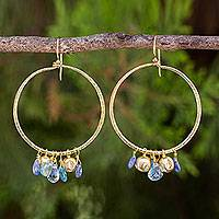 Multi-gemstone gold vermeil dangle earrings, 'Transcendent Blue' - 24k Gold Vermeil Dangle Earrings with Blue Gemstones