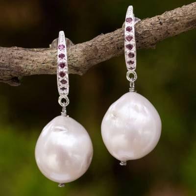 Garnet and cultured pearl dangle earrings, 'Warmth Within' - Baroque Pearl and Garnet Dangle Earrings in Sterling Silver