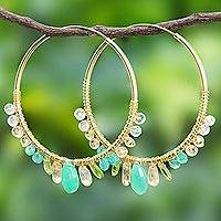 Multi-gemstone gold vermeil hoop earrings, 'Spring Serenade' - Gold Plated Hoop Earrings with Assorted Green Gemstones
