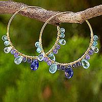 Multi-gemstone gold vermeil hoop earrings, 'Azure Serenade' - Gold Plated Silver Hoop Earrings with Sapphire and Tanzanite
