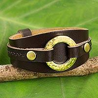 Leather wristband bracelet, 'Carefree in Brown' - Handcrafted  Brass Rings and Studs Brown Leather Bracelet