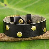 Leather wristband bracelet, 'Dance on Black' - Brass Studded Womens Leather Bracelet in Black