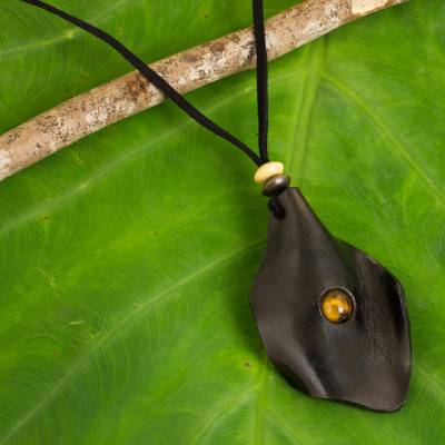 Men's tiger's eye and leather necklace, 'Thai Cowboy in Black' - Men's Black Leather Tiger's Eye Pendant Necklace