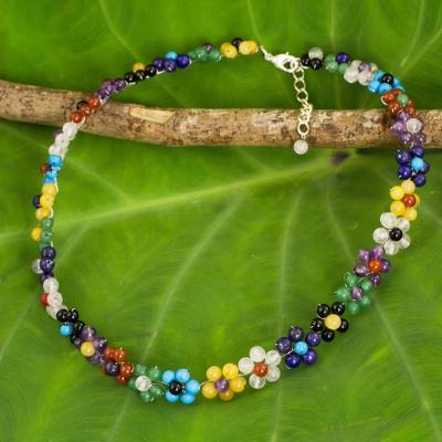 Multi-gemstone flower necklace, 'Rainbow Blooms' - Colorful Multi Gemstone Flower Necklace from Thailand