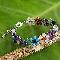Multi-gemstone flower bracelet, 'Rainbow Blooms' - Multicolored Gemstone Bead Bracelet with Floral Motif