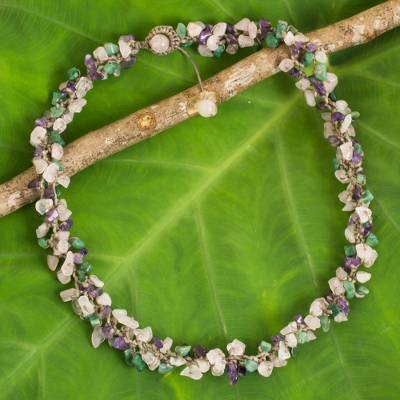 Rose quartz beaded necklace, 'Thai Interlude' - Beaded Necklace with Rose Quartz and Amethyst