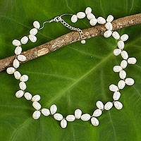 Cultured pearl necklace, 'Pure Innocence' - Handcrafted Cultured Freshwater Pearl Garland Necklace