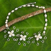 Cultured pearl flower necklace, 'Jasmine Trio' - Thai Floral Handcrafted Necklace with White Cultured Pearls