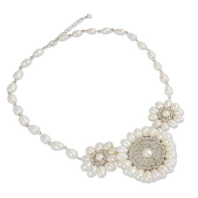 Cultured pearl pendant necklace, 'White Chrysanthemum Trio' - Thai White Cultured Pearl Floral Fair Trade Necklace