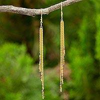 Gold vermeil yellow sapphire waterfall earrings, 'Nature's Power' - Yellow Sapphire on Gold Vermeil Waterfall Earrings