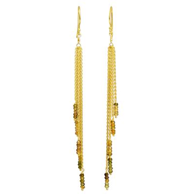 Yellow Sapphire on Gold Vermeil Waterfall Earrings