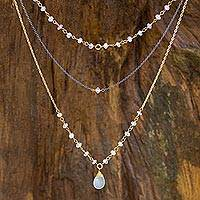 Vermeil rainbow moonstone multi-strand necklace, 'Lanna Delicacy' - Handcrafted 3-in-1 Necklace with Vermeil and Moonstone