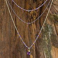 Vermeil amethyst multi-strand necklace,