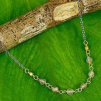 Vermeil labradorite beaded necklace, 'Dreams Come True' - Hand Crafted Vermeil Labradorite and Silver Necklace