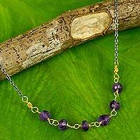 Gold vermeil amethyst beaded necklace, 'Dreams Come True' - Vermeil Amethyst and Silver Necklace Handcrafted in Thailand