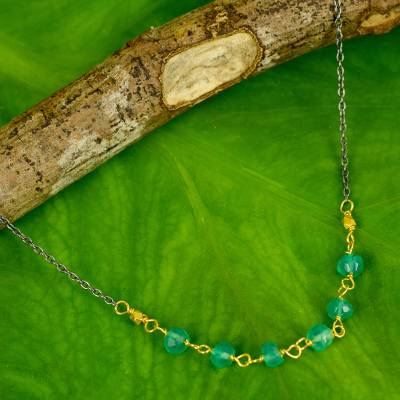 Gold vermeil chalcedony beaded necklace, 'Dreams Come True' - Artisan Crafted Vermeil Necklace with Green Chalcedony