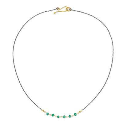 Artisan Crafted Vermeil Necklace with Green Chalcedony