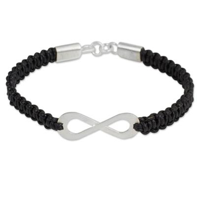 Black Leather Macrame Bracelet with Silver Infinity Pendant