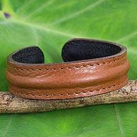 Men's leather cuff bracelet, 'Basic Brown' - Men's Brown Leather Cuff Bracelet from Thailand