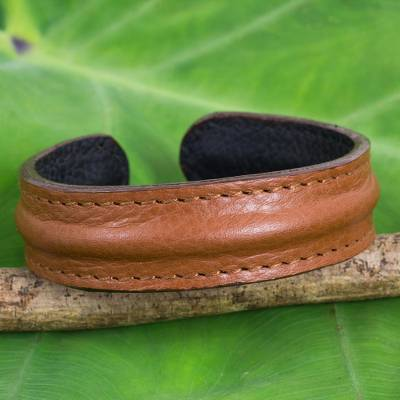 Mens leather cuff bracelet, Basic Brown