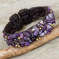 Amethyst cuff bracelet, 'Violet Twilight' - Brown Crocheted Cuff Bracelet with Amethyst Beading