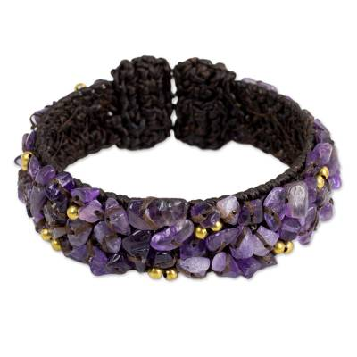 Amethyst cuff bracelet, 'Violet Twilight' - Brown Crocheted Cuff Bracelet with Amethyst Beading
