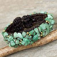 Quartz cuff bracelet, 'Woodland Morning' - Handcrafted Green Quartz Crocheted Cuff Bracelet