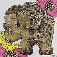 'Lotus Impression l' - Thai Pop Art Elephant Limited Edition Painting