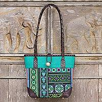 Leather accent cotton shoulder bag, 'Emerald Tribal Patchwork'