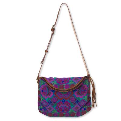 Leather accent cotton shoulder bag, 'Fuchsia Hmong Blossom' - Embroidered Leather Accent Hill Tribe Handbag