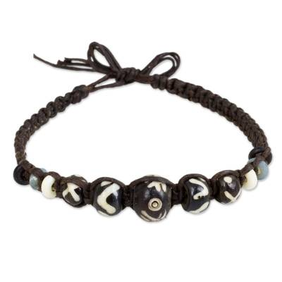 Cow bone beaded bracelet, 'Tribal' - Artisan Crafted Thai Braided Bracelet with Cow Bone Beads