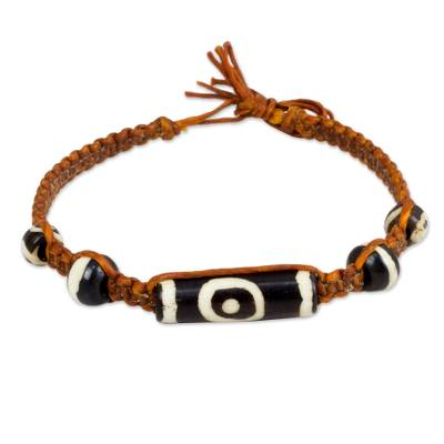 Cow bone beaded bracelet, 'Tribal Tales' - Artisan Crafted Braided Bracelet with Cow Bone Beads