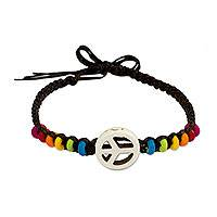 Calcite wristband bracelet, 'Rainbow Loving Peace' - Peace and Love Sign with Multicolored Beads Bracelet