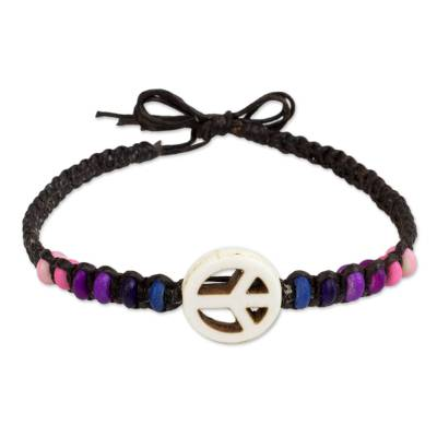 Beaded Bracelet with Calcite Peace and Love Sign