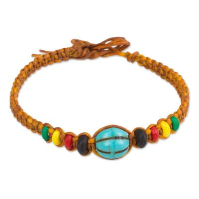 Brown Wristband Bracelet with Turquoise Color Calcite