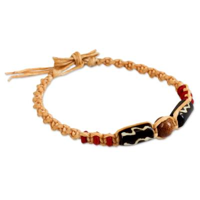 Cow bone beaded bracelet, 'Friendship Sun' - Cow Bone and Sunstone on Artisan Crafted Braided Bracelet