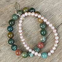 Cultured pearl and jasper stretch bracelet, 'Iridescent Garden' - Thai Double Strand Stretch Bracelet with Pearls and Jasper