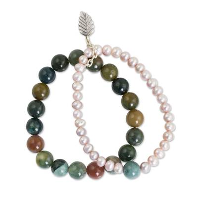 Thai Double Strand Stretch Bracelet with Pearls and Jasper