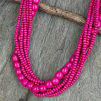 Wood beaded necklace, 'Tropical Dance' - Fair Trade Long Wood Beaded Hot Pink Strand Necklace
