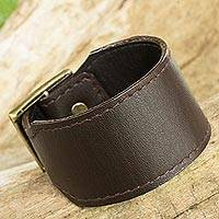 Leather wristband bracelet, 'Courage in Espresso Brown' - Thai Handcrafted Espresso Brown Leather Wristband