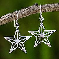 Sterling silver dangle earrings, 'Radiant Star' - Artisan Crafted Sterling Silver Star Theme Thai Earrings
