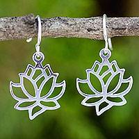 Sterling silver dangle earrings, 'Shining Lotus' - Sterling Silver Artisan Crafted Floral Lotus Earrings