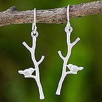 Sterling silver dangle earrings, 'Birds in a Birch' - Sterling Silver Nature Theme Handcrafted Earrings