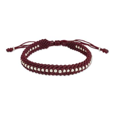 Hill Tribe Silver Bead Burgundy Macrame Bracelet