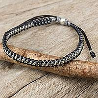 Silver accent braided bracelet, 'Grey Black Progression' - Hand Knotted Macrame Bracelet with Hill Tribe Silver Beads