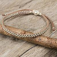Silver accent braided bracelet, 'Tan Ivory Progression' - Macrame Bracelet in Tan and Ivory with Hill Tribe Silver