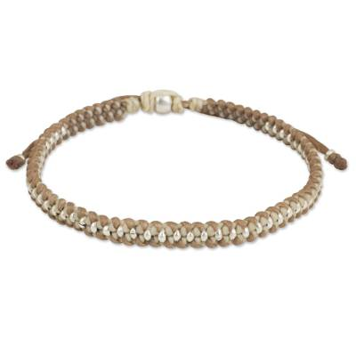 Macrame Bracelet in Tan and Ivory with Hill Tribe Silver