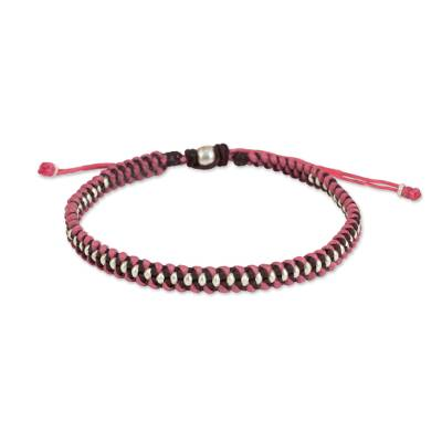 Pink and Maroon Wristband Bracelet with Silver Beads